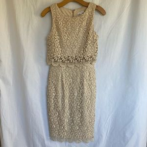 Caché Gold-Threaded Lace Dress